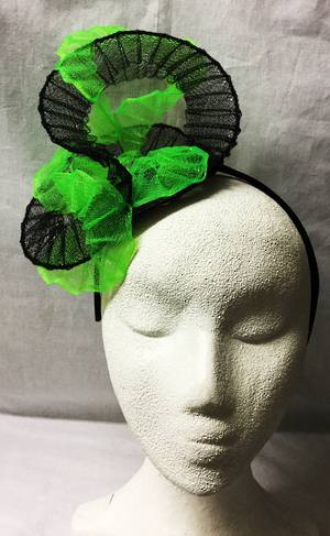 Black and fluro green fascinator - one only