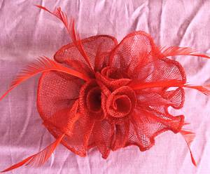 Red (rust) circular fascinator - one only