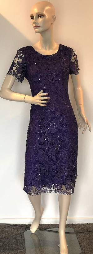Lace and sequin dress with a quarter sleeve - size 8 only
