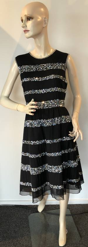 Black dress with sequin stripe - one only size 14
