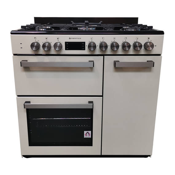 900mm Country Style Freestanding Gas Stove, 1 & 1/2 Ovens + Grill, Beige (DISCONTINUED)