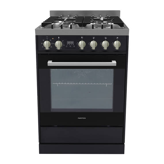 Freestanding Stove, 600mm, Combination, Stainless Steel - Black