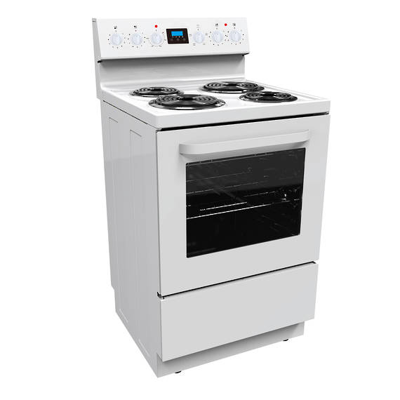 600mm Freestanding Stove, Radiant Coil Cooktop, 4 Function Electric Oven, White