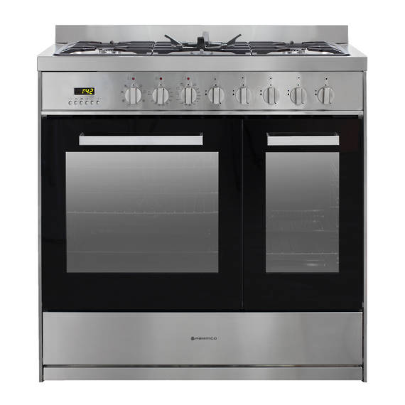 900mm Combination Freestanding Stove, 1 & 1/2 Ovens, Stainless Steel
