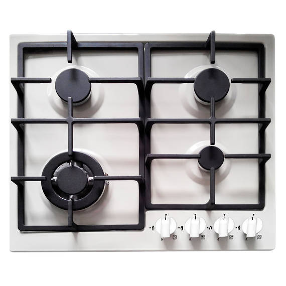 600mm Gas Hob, 3 Burner + Wok, White (DISCONTINUED)