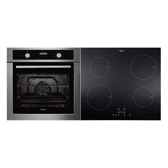 Verso 1-2 Pack 600mm Oven, 9 Function, Stainless Steel and 600mm Induction Cooktop