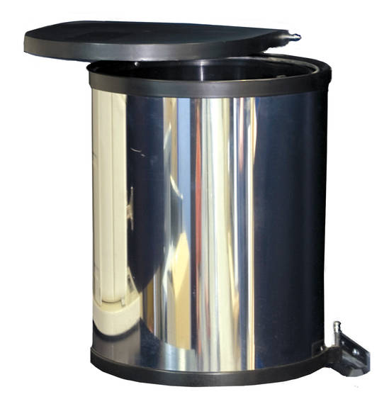 Round Hinged Bin, Door Mounted, Stainless Steel (DISCONTINUED)