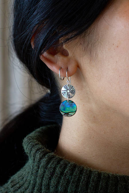 Silver Kina & Paua Earrings