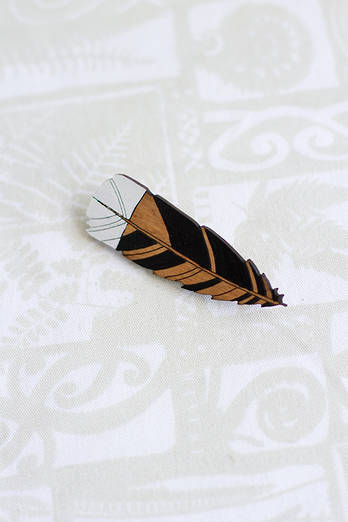 Small Huia Feather Brooch