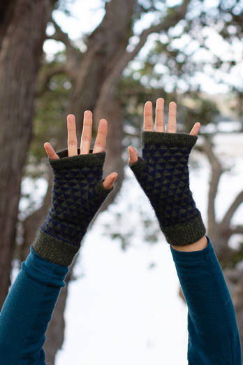 Manapouri Moss | Midnight hand cosies