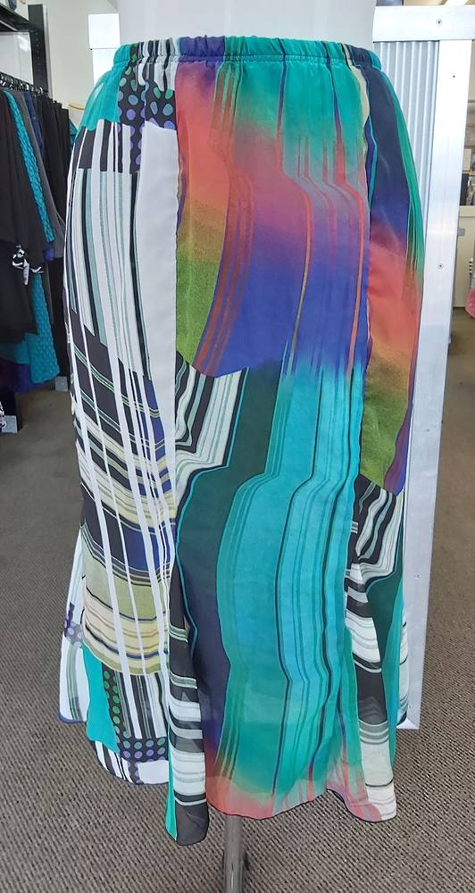Cashews Teal Print Godet Skirt