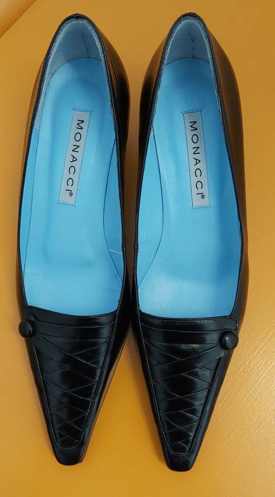 Monacci Black Leather Dress Shoes