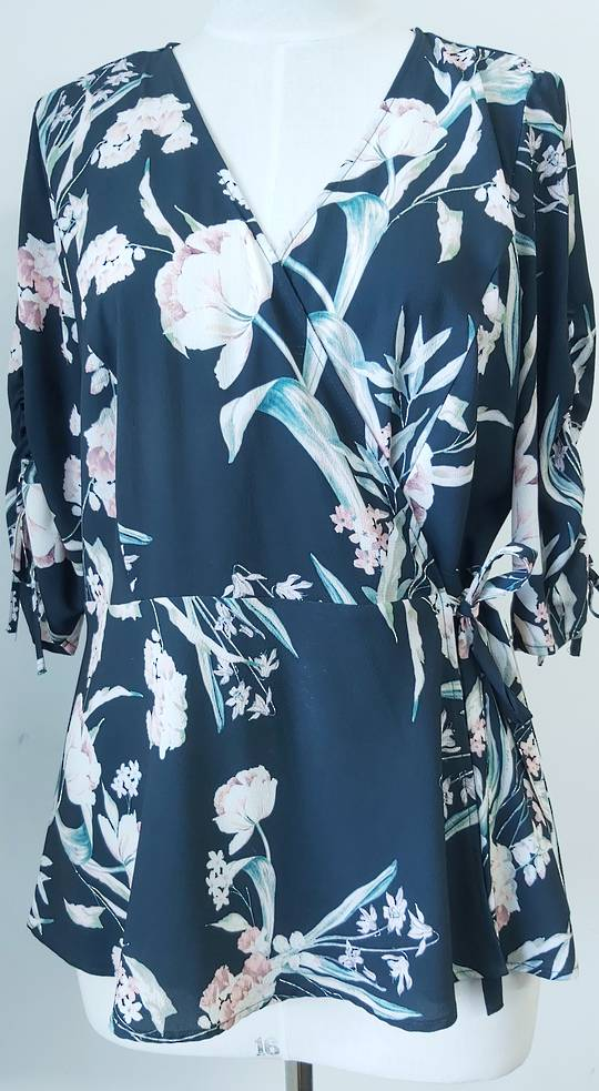 City Chic Flower Print Crossover Top