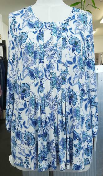 Blue Illusion Front Tuck Top