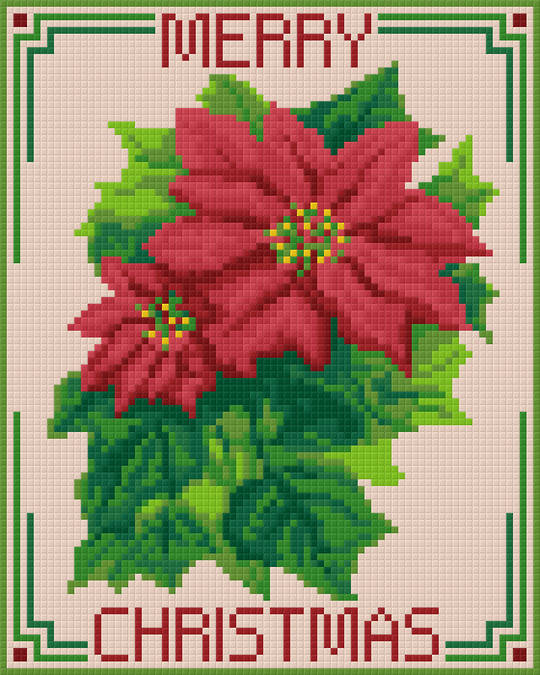 Pointsettia Four [4] Baseplate PixelHobby Mini-mosaic Art Kit