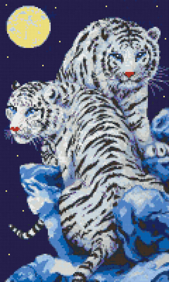 White Tiger Couple Twelve [12] Baseplate PixelHobby Mini-mosaic Art Kit