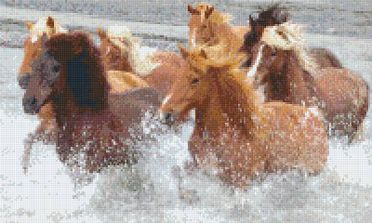Galloping Horses Twelve [12] Baseplate PixelHobby Mini-mosaic Art Kit