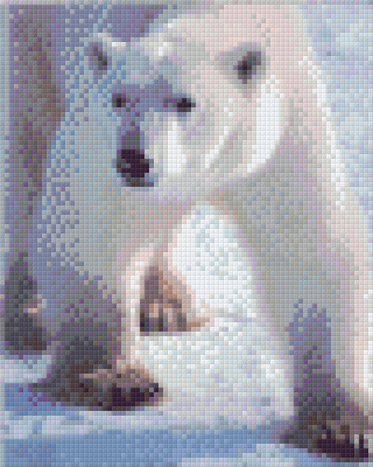 Polar Bear Four [4] Baseplate PixelHobby Mini-mosaic Art Kit