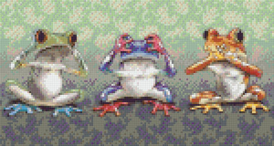 No Evil Frogs Six [6] Baseplate PixelHobby Mini-mosaic Art Kits