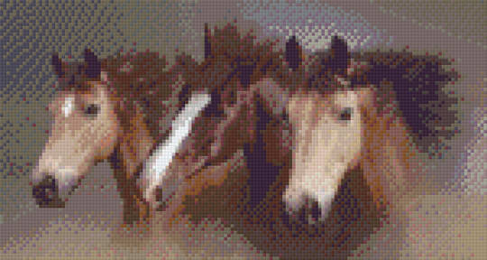 Three Horses Six [6] Baseplate PixelHobby Mini-mosaic Art Kits