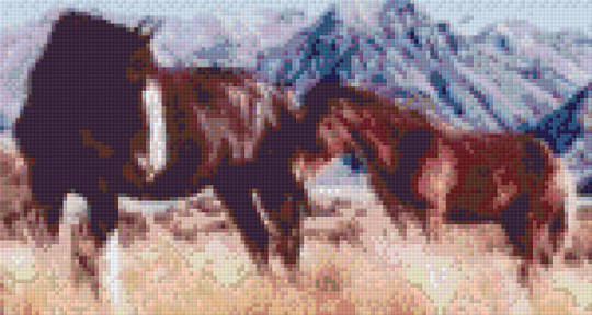Clydesdale Mother & Foal Six [6] Baseplate PixelHobby Mini-mosaic Art Kits