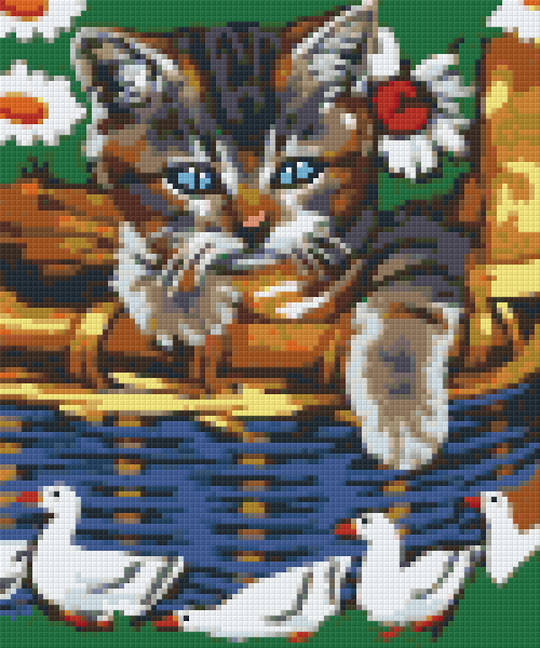 Cat & Geese Six [6] Baseplate PixelHobby Mini-mosaic Art Kits