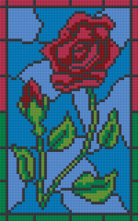 Rose Stained Glass Window Two [2] Baseplate PixelHobby Mini-mosaic Art Kit