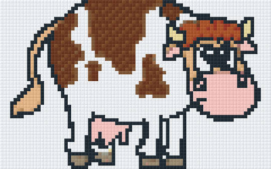 Cartoon Cow Two [2] Baseplate PixelHobby Mini-mosaic Art Kit