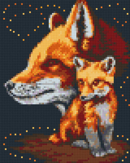 Foxes Four [4] Baseplate PixelHobby Mini-mosaic Art Kits