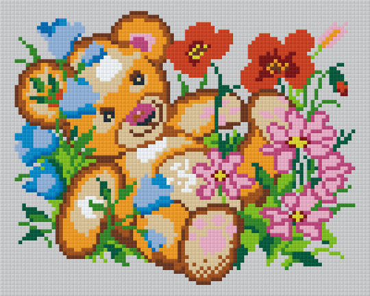 Teddy With Flowers Four [4] Baseplate PixelHobby Mini-mosaic Art Kits