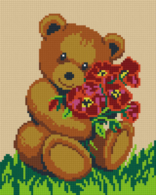 Teddy With Red Flowers Four [4] Baseplate PixelHobby Mini-mosaic Art Kits