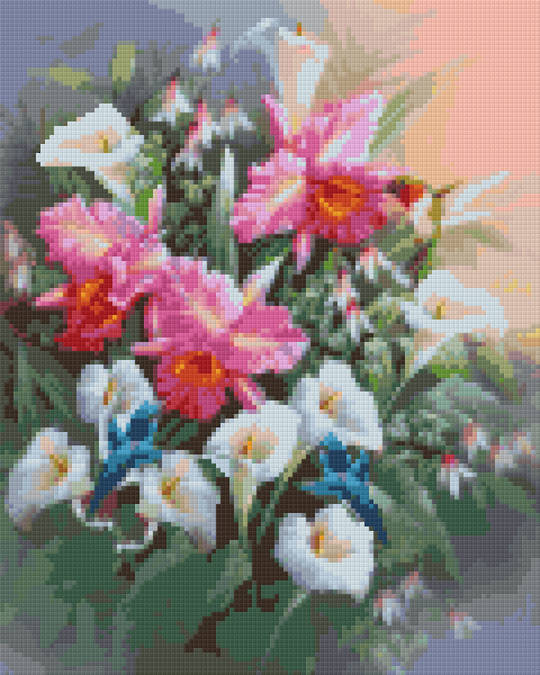 Hummingbirds And Lillies Nine [9] Baseplate PixelHobby Mini-mosaic Art Kits