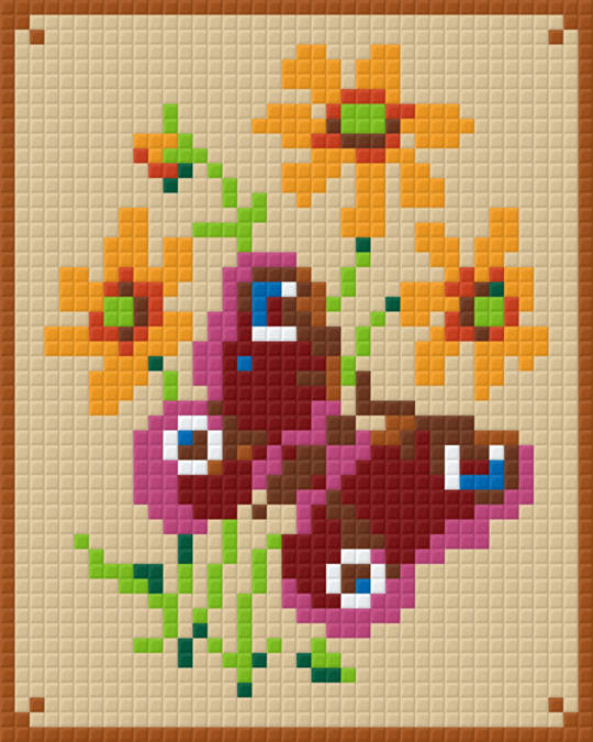 Pink And Red Butterfly one [1] Baseplate PixelHobby Mini-mosaic Art Kits