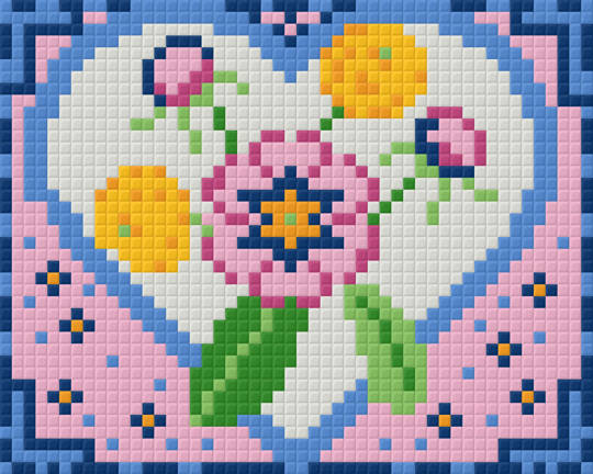 Flower Heart one [1] Baseplate PixelHobby Mini-mosaic Art Kits