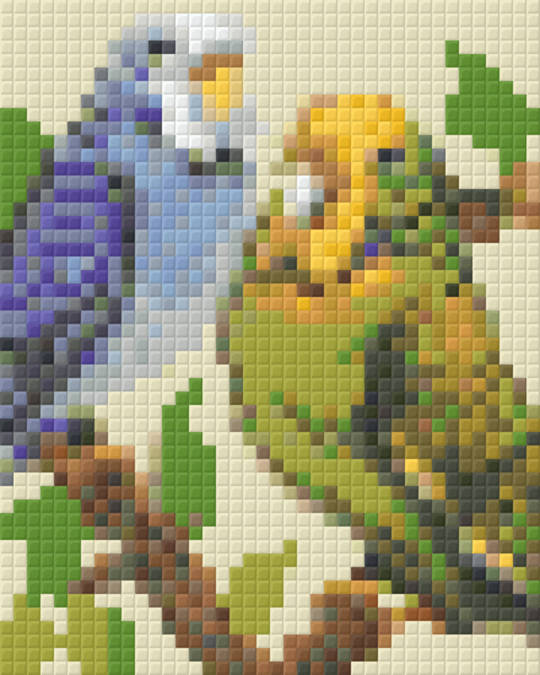 Budgie Pair One [1] Baseplate PixelHobby Mini-mosaic Art Kits