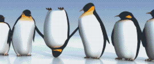 Penguin Lineup Twelve [12] Baseplate PixelHobby Mini-mosaic Art Kit