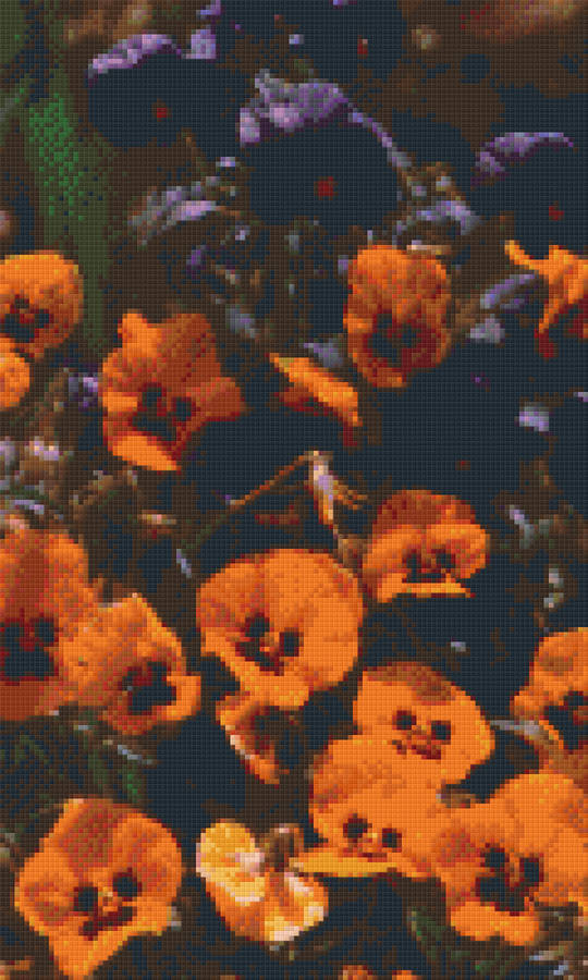Pansies Twelve [12] Baseplate PixelHobby Mini-mosaic Art Kit