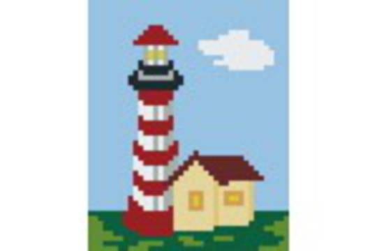 Red Lighthouse One [1] Baseplate PixelHobby Mini-mosaic Art Kits