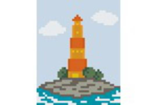 Orange Lighthouse One [1] Baseplate PixelHobby Mini-mosaic Art Kits