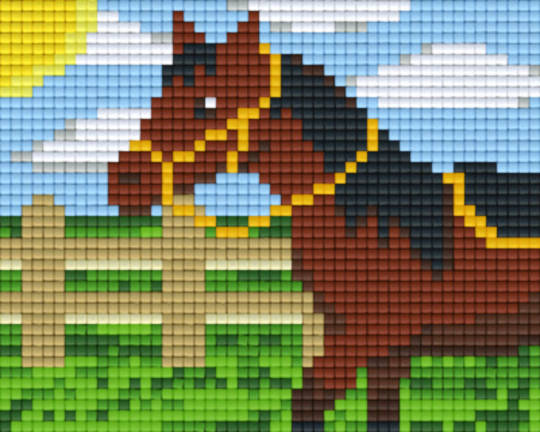 Horse In Paddock One [1] Baseplate PixelHobby Mini-mosaic Art Kits
