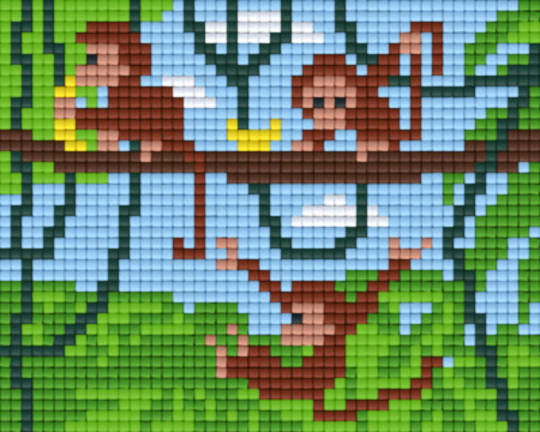 Swinging Monkeys One [1] Baseplate PixelHobby Mini-mosaic Art Kits