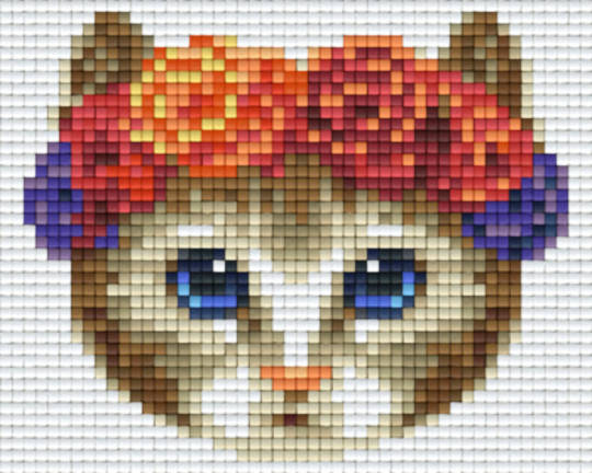 Tabby Cat With Floral Headband One [1] Baseplate PixelHobby Mini-mosaic Art Kits