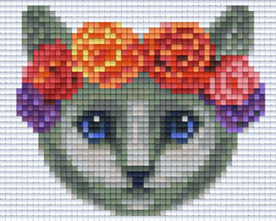Grey Cat With Floral Headband One [1] Baseplate PixelHobby Mini-mosaic Art Kits