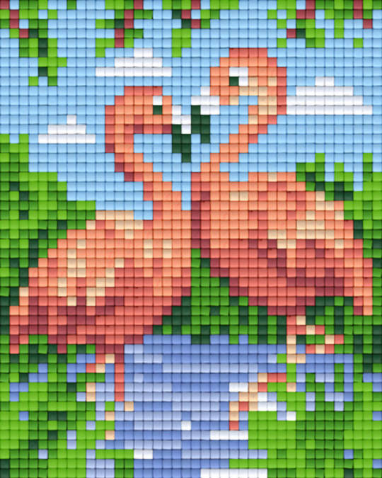 Flamingoes One [1] Baseplate PixelHobby Mini-mosaic Art Kits