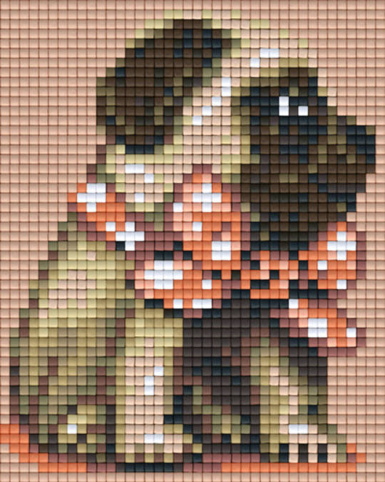Peach Bow Pug One [1] Baseplate PixelHobby Mini-mosaic Art Kits