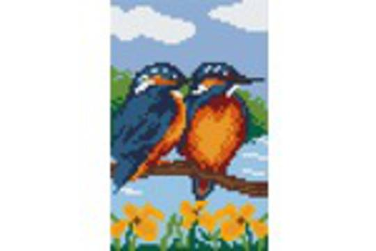 Kingfishers Two [2] Baseplate PixelHobby Mini-mosaic Art Kit