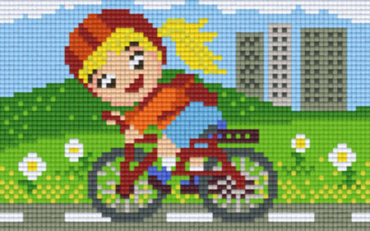 Little Girl Riding Bike Two [2] Baseplate PixelHobby Mini-mosaic Art Kits