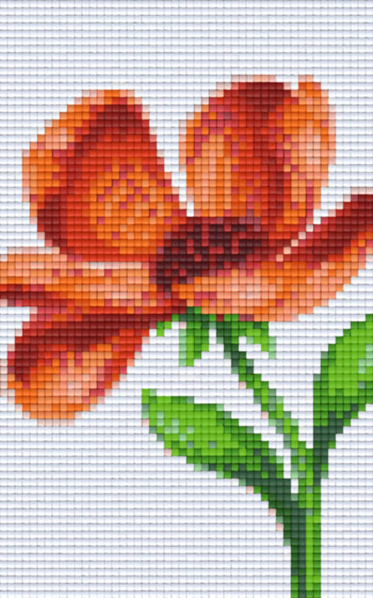 Orange Flower Two [2] Baseplate PixelHobby Mini-mosaic Art Kit