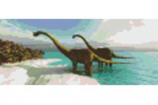 Two Dinosaurs Three [3] Baseplate PixelHobby Mini-mosaic Art Kit