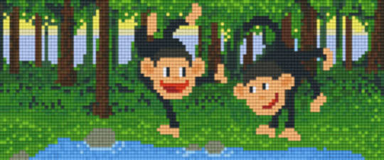 Monkies Three [3] Baseplate PixelHobby Mini-mosaic Art Kits